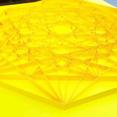 Detail of Large Geometric Paper Artwork - CONNECTED (yellow)