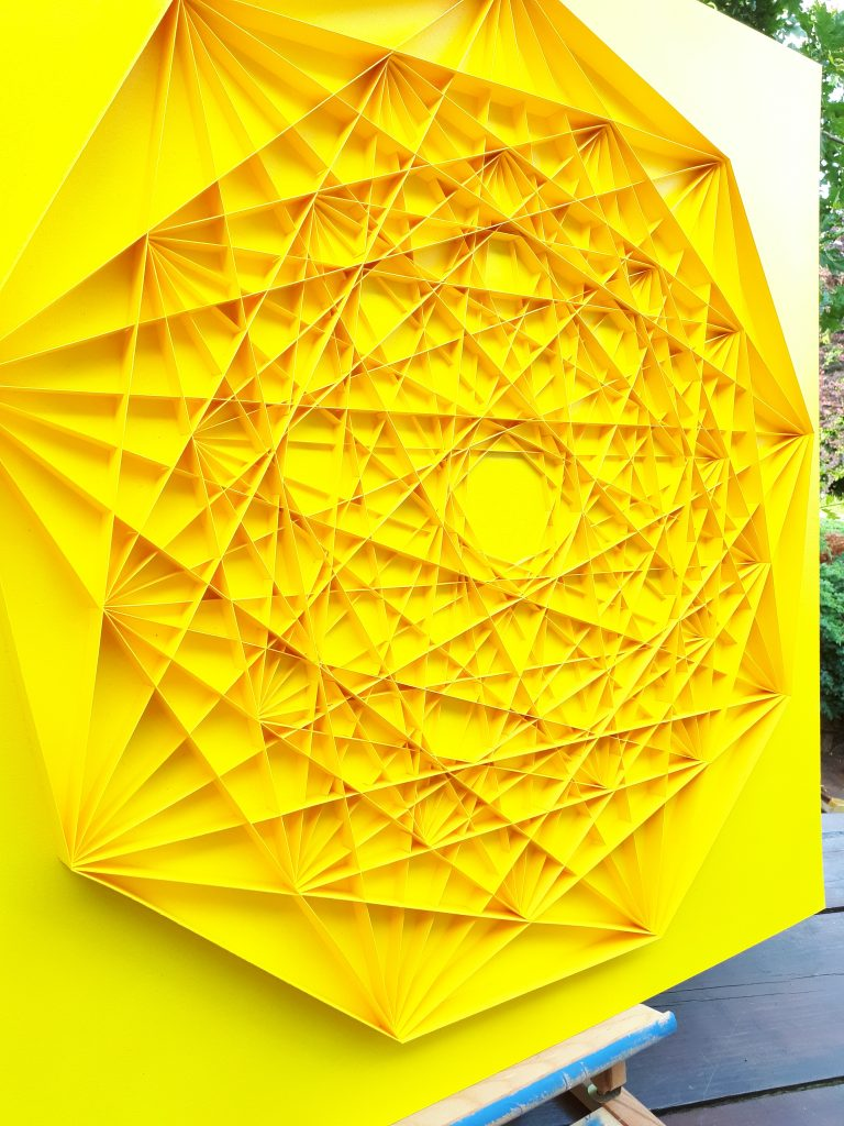 Large Geometric Paper Artwork - CONNECTED (yellow)