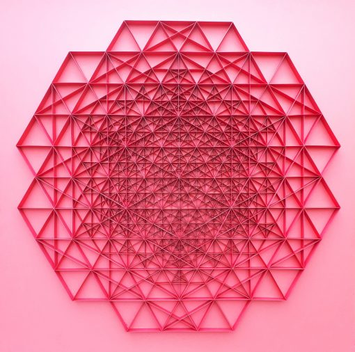 Large Geometric Paper Artwork - POWER (red)
