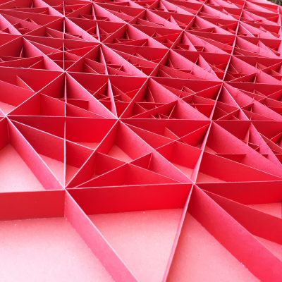 Detail of Large Geometric Paper Artwork - POWER (red)