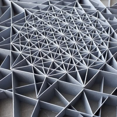 Detail of Large Geometric Paper Artwork - CLARITY (grey)
