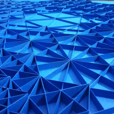 Detail of Large Geometric Paper Artwork - IFNITY (blue)