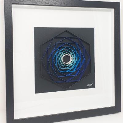paper artwork blue hexagon