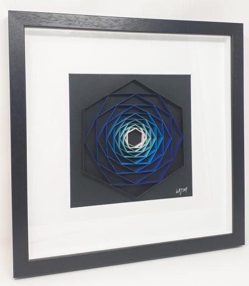paper artwork blue hexagon