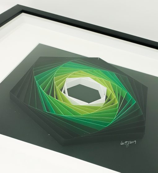 paper artwork green hexagon