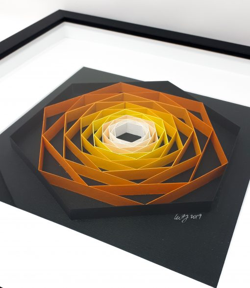 paper artwork orange hexagon