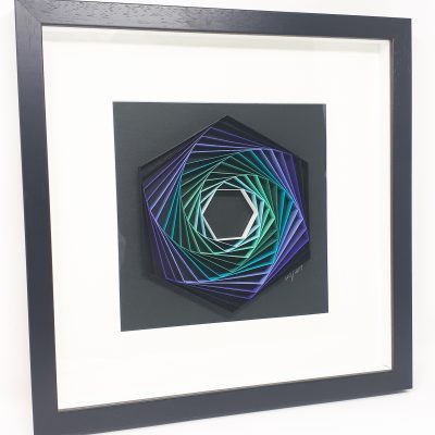 paper artwork purple/turquoise hexagon
