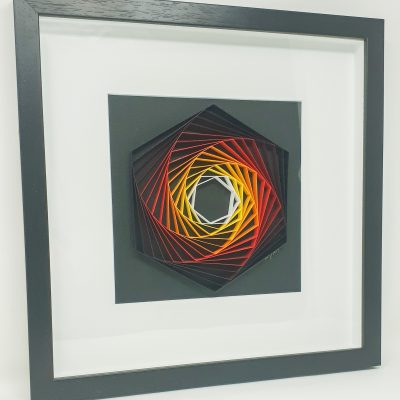 paper artwork fiery hexagon