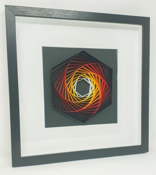 paper artwork fiery hexagon
