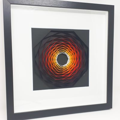paper artwork fiery octagon