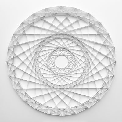 Large Geometric Paper Artwork - FOCUS (white)