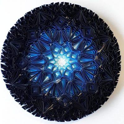 Medium Geometric Paper Artwork - BLUE MOON (blue-white)