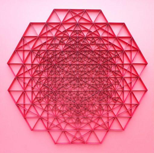 Large Geometric Paper Artwork - POWER (red)