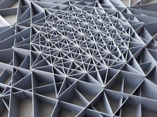 Detail of Large Geometric Paper Artwork - CLARITY (grey)