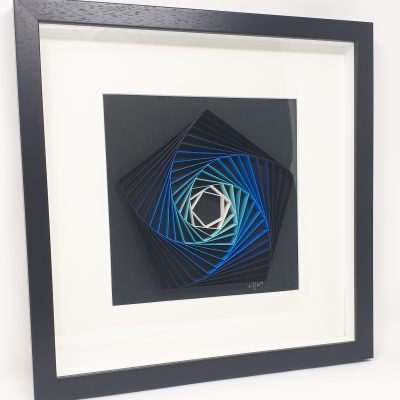 paper artwork blue pentagon