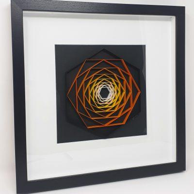paper artwork orange hexagon