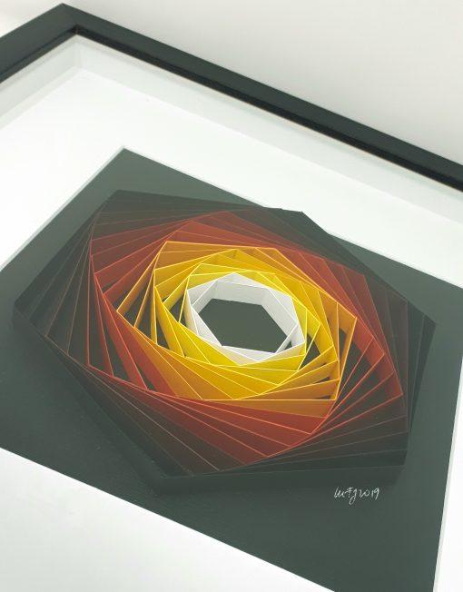 paper artwork fiery geometry