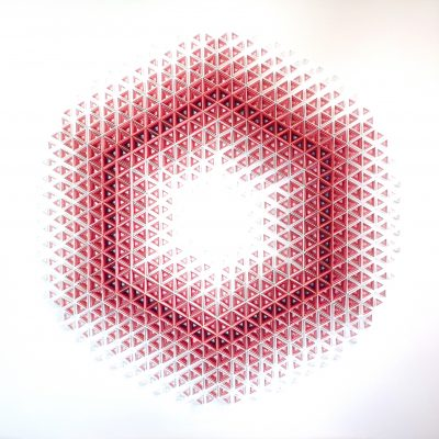 Large Geometric Paper Artwork - CANDY FLOSS (white-pink)