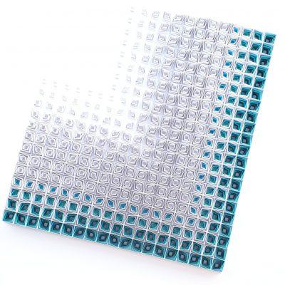 Large Geometric Paper Artwork - QUIET WHISPER (white-turquise)