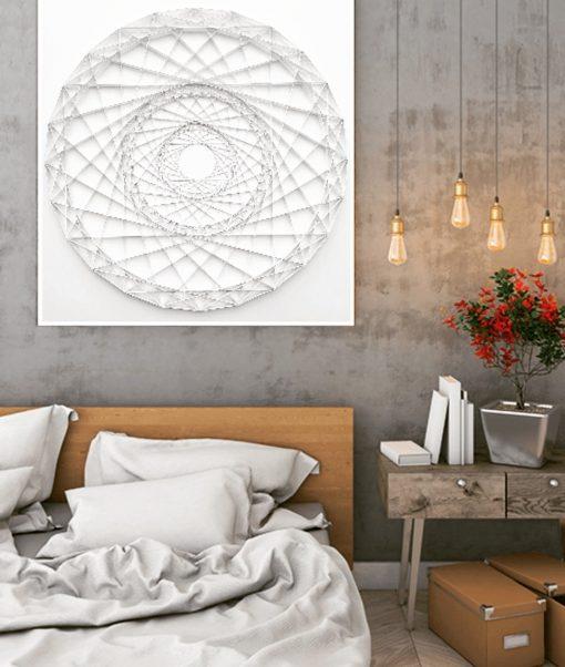 Large Geometric Paper Artwork - FOCUS (white)
