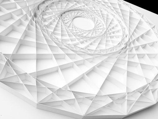 Detail of Large Geometric Paper Artwork - FOCUS (white)